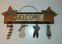 Welcome Candy Cane CHRISTMAS HANGING WALL DECOR snowman angel Box B