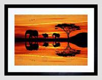 PHOTO COMPOSITION AFRICAN ELEPHANT SILHOUETTE SUNSET FRAMED ART PRINT B12X8282