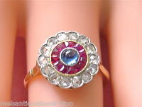ANTIQUE ART DECO .30ctw ROSE DIAMOND RUBY SAPPHIRE ROUND RING 1920