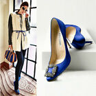 Womens Sexy Stiletto High Heels Pointed Toe Rhinestone Stain Blue Wedding Shoes
