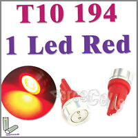 2 T10 194 High Power RED 1 LED Bulb License Plate Dome