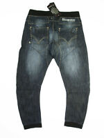 NEW Mish Mash Mens Size 34w 36w 30L 32L Low Crotch Relaxed Cuffed Blue Jeans