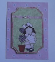 PK 3 PRETTY HANNAH POT PLANT TOPPER EMBELLISHMENT TOPPERS FOR CARDS
