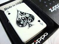 New Ace Of Spades White Matte Zippo Lighter RARE