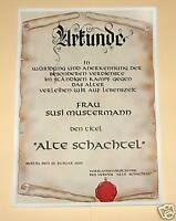 Urkunde  ALTE SCHACHTEL  + Vortrag zum Geburtstag