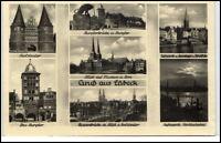 LÜBECK Mehrbild-AK ca. 40/50er Jahre ua. Holstentor, Brücke und Hafen Partie