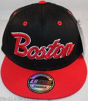 BNWT BOSTON CLASSIC BLACK RETRO VINTAGE SNAPBACK FLAT PEAK BRIM CAP HAT ONE SIZE