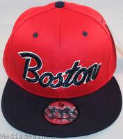 BNWT BOSTON CLASSIC RED RETRO VINTAGE SNAPBACK FLAT PEAK BRIM CAP HAT *ONE SIZE