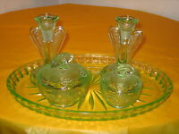 ART DECO GREEN GLASS DRESSING TABLE SET small chips,tray different pattern