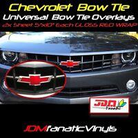 "2x 5""x10"" High Gloss RED BowTie Emblem Overlays Decal Vehicle Wrap Universal KIT"