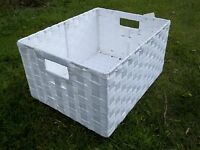 Regalkorb, Allzweckkorb mit Metallrahmen, in vier Größen, weiß