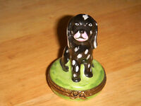 AUTHENTIC LIMOGES spotted puppy dog    TRINKET BOX