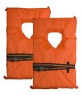 Universal Adult Type II PFD Life Jacket Orange Rescue Flotation Vest - 2 PACK