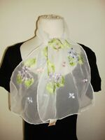 Glentex scarf Neck Wrap white sheer lace embroid large flowers pink purple New