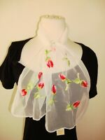 Glentex scarf Neck Wrap white sheer lace embroidered flowers red love tulips new