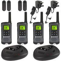 4 Motorola TLKR-T60Z Walkie Talkie PMR446 Rechargeable Radio Quad Pack & Charger