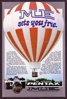 1970's Vintage Pentax ME Camera Hot Air Balloon Photo Print Ad