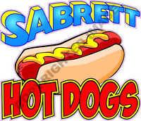 "6"" x 7"" Sabrett Hot Dog Concession Trailer Food Truck Restaurant Sign Decal"