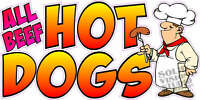 """12"""" x 24"""" All Beef Hot Dog Concession Trailer Food Truck Restaurant Sign Decal"""