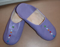 MOROCCAN  SOFT LEATHER SLIPPERS * 6/39 * PURPLE