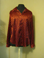 new George red and black shiny button down blouse new lg 12/14 braided print