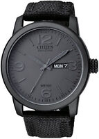 Mens Citizen Eco-Drive Black Military Canvas Watch with Day Date BM8475-00F