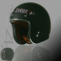 TORC 3/4 OPEN FACE RETRO MOTORCYCLE SCOOTER HELMET MATTE FLAT BLACK MOVE OVER L