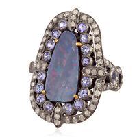 Memorial Gift Opal Tanzanite Diamond 18k Gold 925 Sterling Silver Cocktail Ring