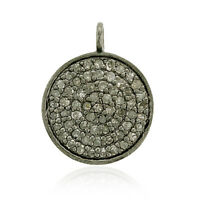 Memorial Gift Pave Diamond Disc Charm Pendant 925 Sterling Silver Vintage Look