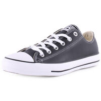 Converse All Star Leather Ox Womens Trainers Black White New Shoes