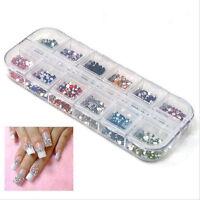 3000pcs 3D Nail Art Tips Rhinestones 2mm Gem Glitter DIY Decoration Manicure New