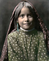 """TEWA PUEBLO GIRL NATIVE AMERICAN INDIAN 8x10"""" HAND COLOR TINTED PHOTOGRAPH"""
