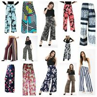 LADIES FLORAL WOMEN PRINTED PALAZZO TROUSERS WIDE LEG PANTS PLUS SIZE 8-26