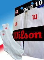 Wilson Crew Socks - Size 6-11 (UK) - 39-46 (Eur) -10 Pair Pack - White