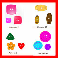Sizzix Button Set 4-die #38-9690 Retail $19.99 RARE, Retired, 12 SHAPES!