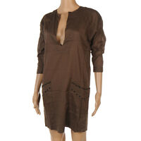 DAY BIRGER ET MIKKELSEN Dress Khaki Brown Cotton Kaftan Tunic Size UK 8 SW 142