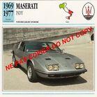 MASERATI 1969 1977 INDY GT V8 VOITURE CAR ITALIA ITALY ITALIE CARTE FICHE
