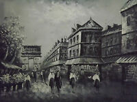 Paris Large Oil Painting Canvas Arch De Triumph Black White French Art Cityscape