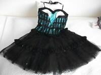 Corsagekleid/Petticoat Ball/Party/Gothic/schwarz/türkis Gr38-nur1x getragen!TOP