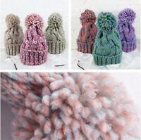 Women's Winter Warm Knitted Beret Hat Crochet Ponytail Ski Baseball Beanie Cap