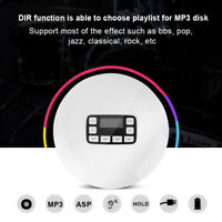 LCD Portatile AUX CD Lettore+Auricolare per MP3/CD/CD-R/CD-RW Bianco