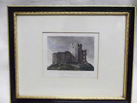 Antique Framed Line Engraving Of Cardiff Castle Hand Coloured 1815