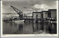 KIEL um 1935 AK Schiff Hafen Partie an der GERMANIA Werft Verlag M. Dieterle