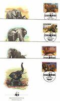 Elephants WWF Uganda Complete Set (4) FDC 1983