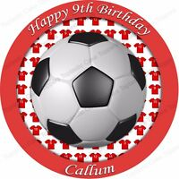 Personalised Red Football Edible Icing Cake Topper