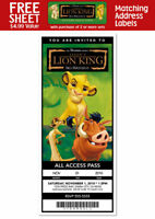 6 LION KING Movie Birthday Party TICKET INVITATIONS