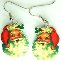 vtg 50's santa claus christmas charm glitter earrings