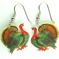 vtg thanksgiving turkey bird harvest fall autumn red gobble food charm earrings