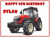 Personalised Red Tractor Edible Icing Cake Topper