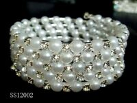 STUNNING 5 ROW DIAMANTE AND PEARL BRACELET WEDDING UK